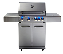 Freestanding grill in stainless steel